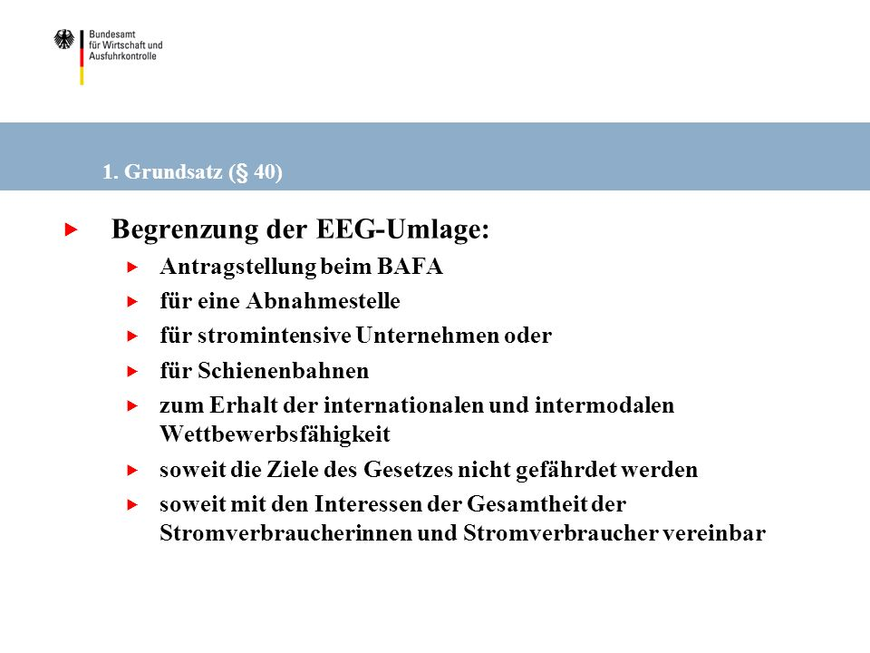 Begrenzung der EEG-Umlage: