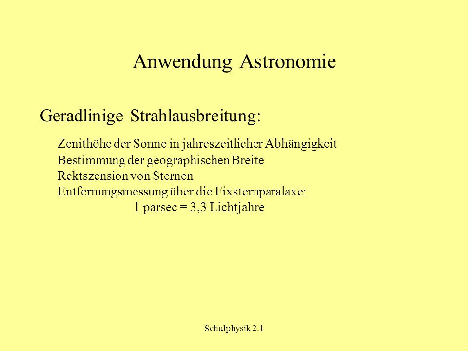 Anwendung Astronomie Geradlinige Strahlausbreitung: