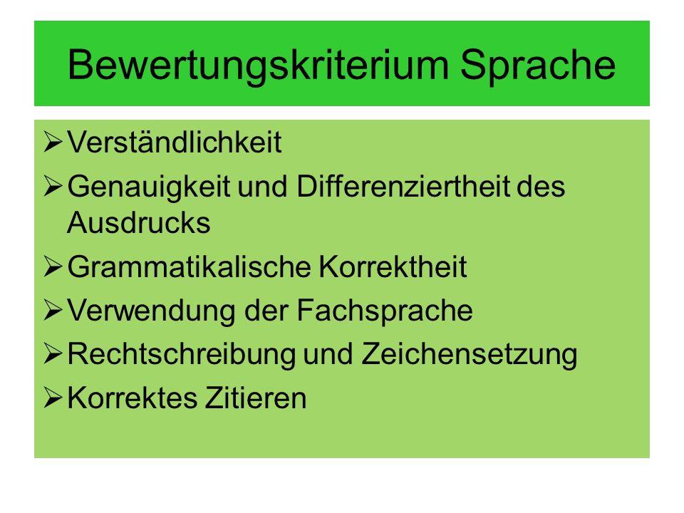 Bewertungskriterium Sprache