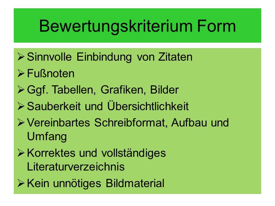 Bewertungskriterium Form
