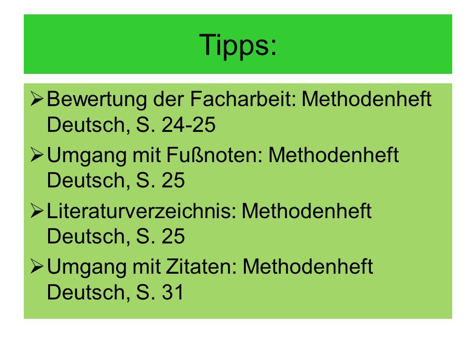 Tipps: Bewertung der Facharbeit: Methodenheft Deutsch, S. 24-25