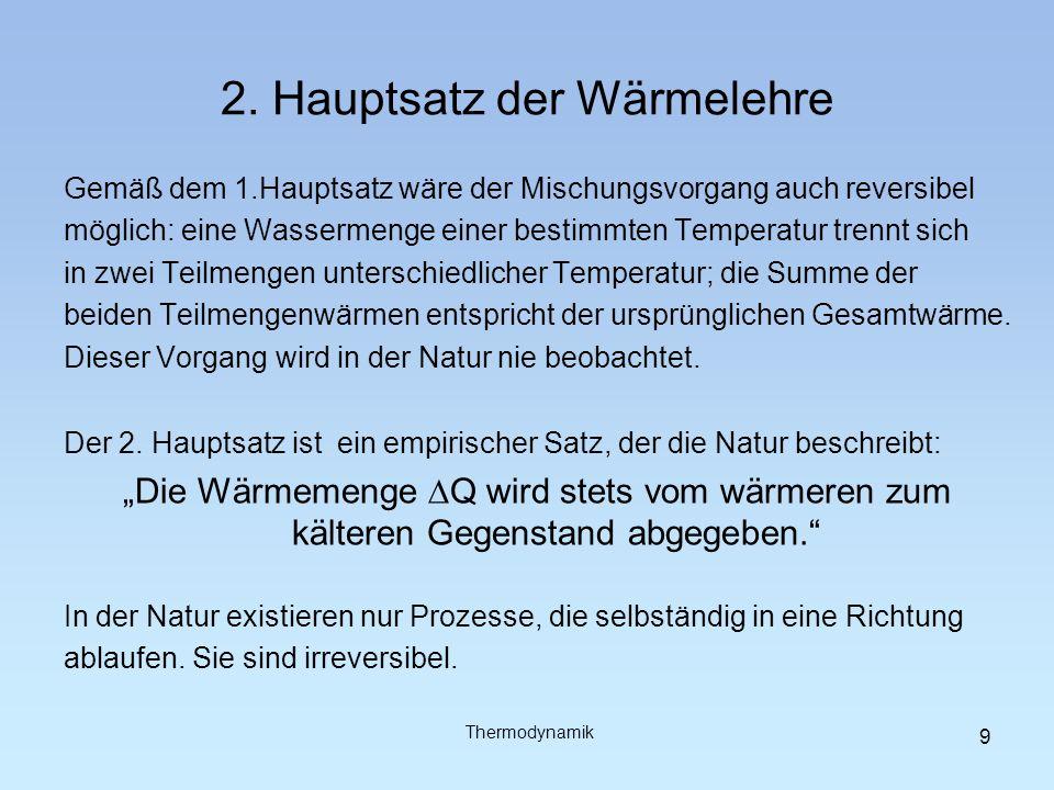 2. Hauptsatz der Wärmelehre