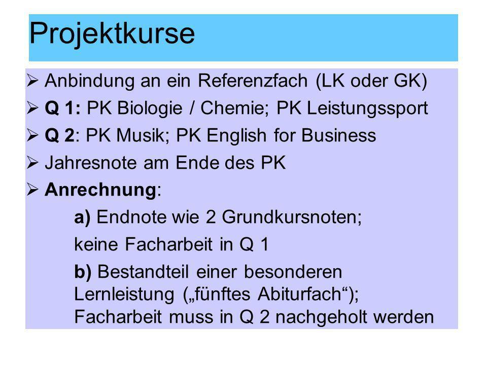 Projektkurse Anbindung an ein Referenzfach (LK oder GK)