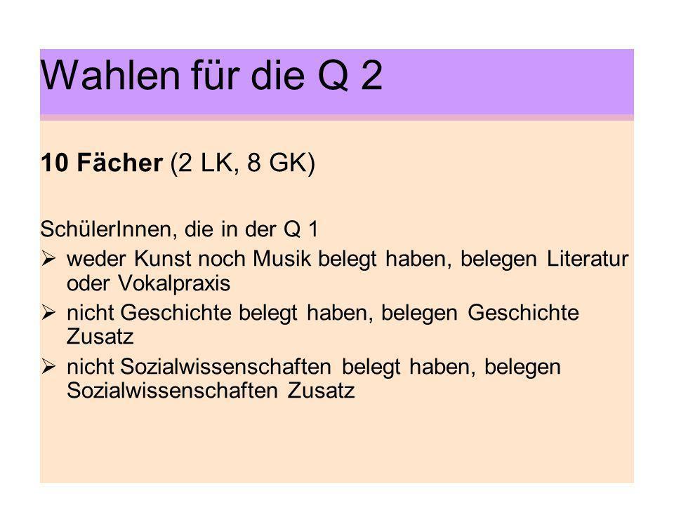 Wahlen für die Q 2 10 Fächer (2 LK, 8 GK) SchülerInnen, die in der Q 1