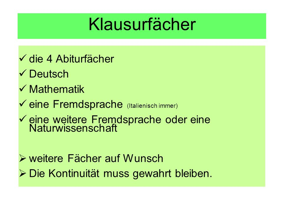 Klausurfächer die 4 Abiturfächer Deutsch Mathematik