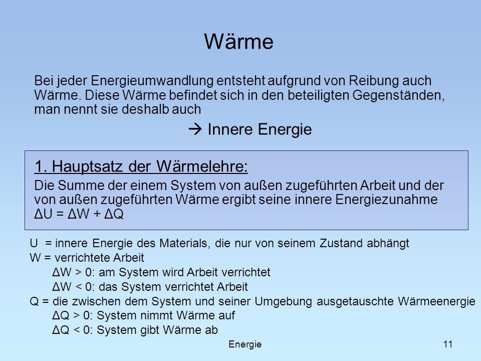 Wärme  Innere Energie 1. Hauptsatz der Wärmelehre: