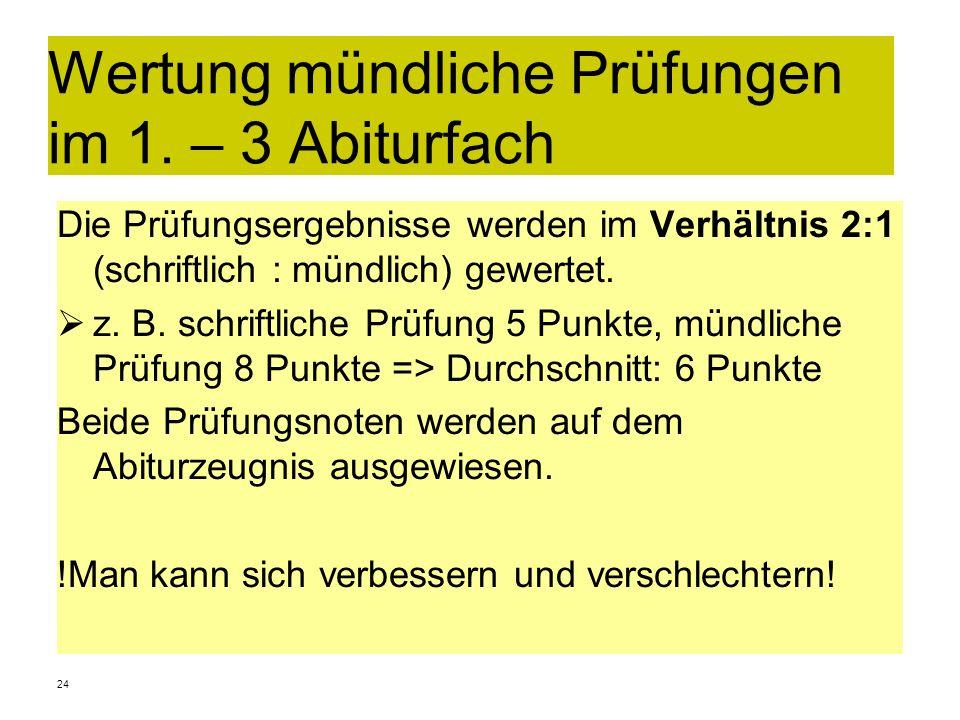 Wertung mündliche Prüfungen im 1. – 3 Abiturfach