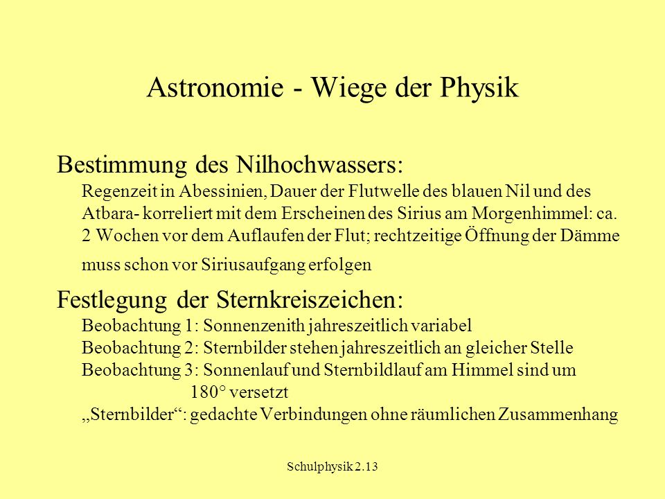 Astronomie - Wiege der Physik