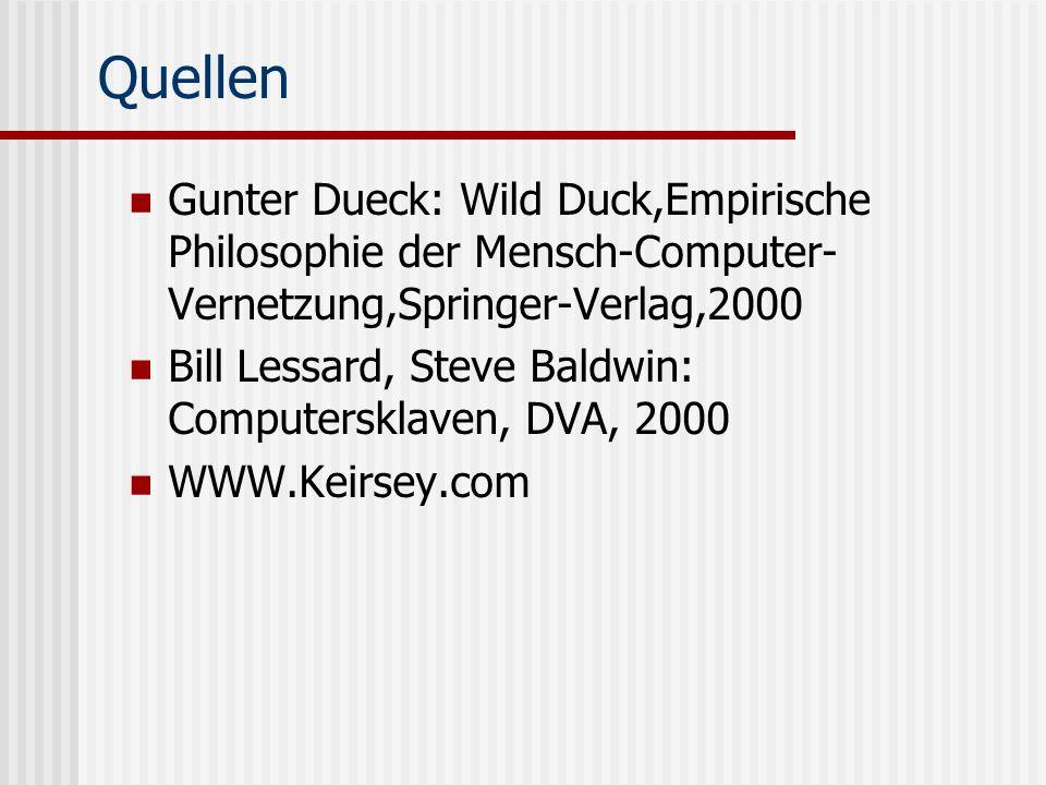 Quellen Gunter Dueck: Wild Duck,Empirische Philosophie der Mensch-Computer-Vernetzung,Springer-Verlag,2000.