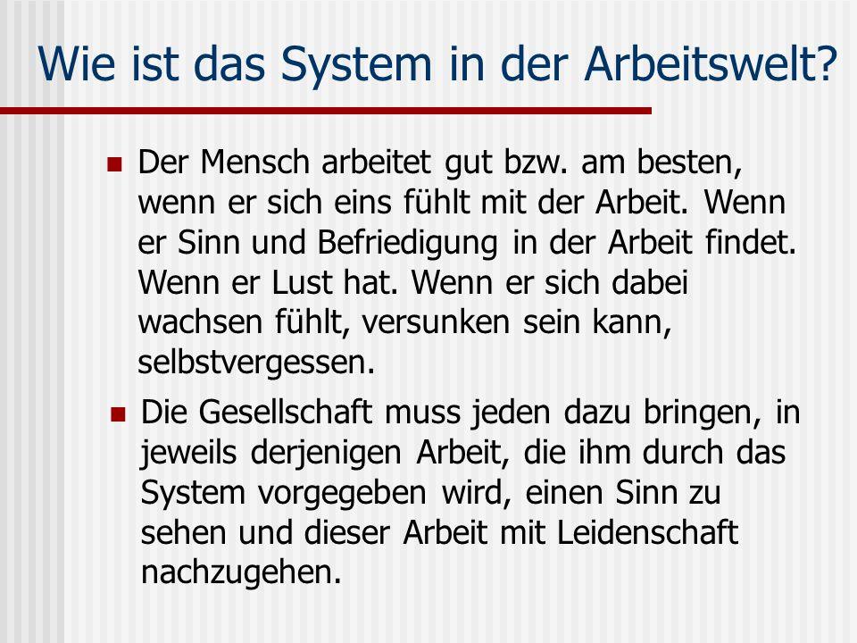 Wie ist das System in der Arbeitswelt
