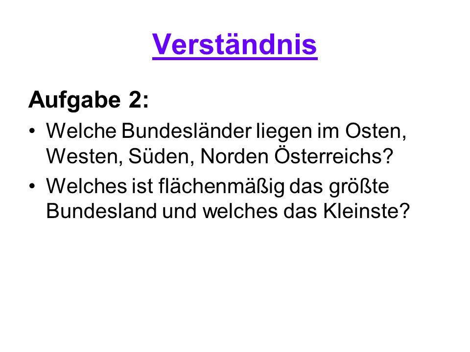 Verständnis Aufgabe 2: Welche Bundesländer liegen im Osten, Westen, Süden, Norden Österreichs