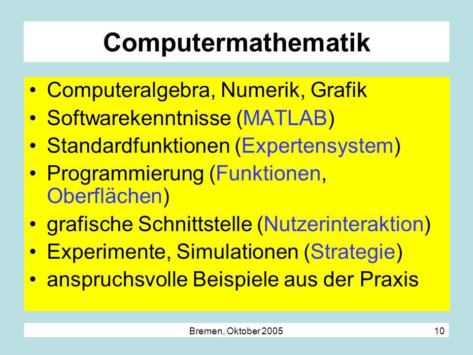 Computermathematik Computeralgebra, Numerik, Grafik