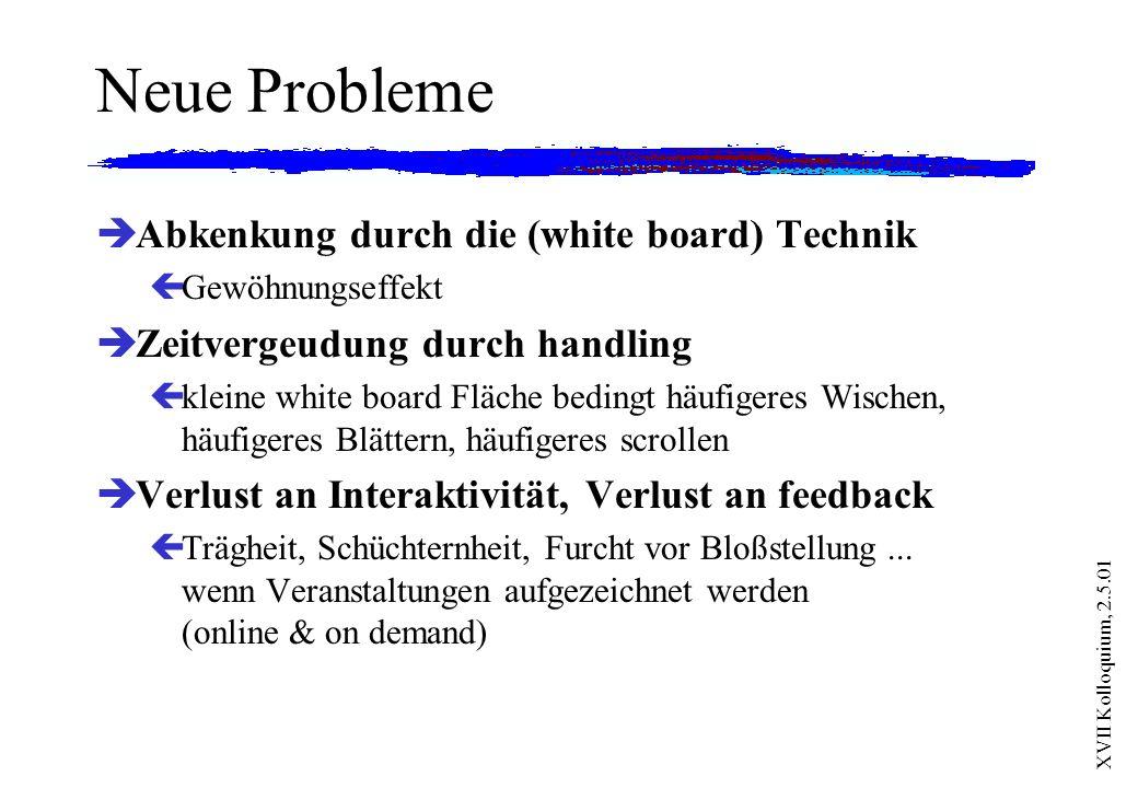 Neue Probleme Abkenkung durch die (white board) Technik