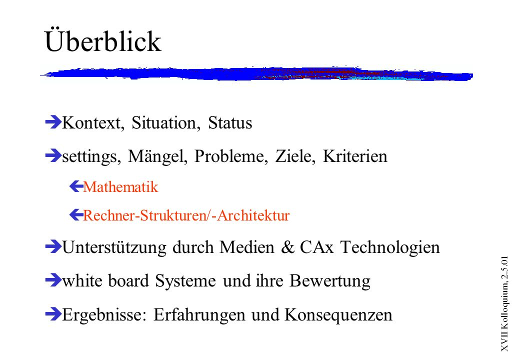 Überblick Kontext, Situation, Status