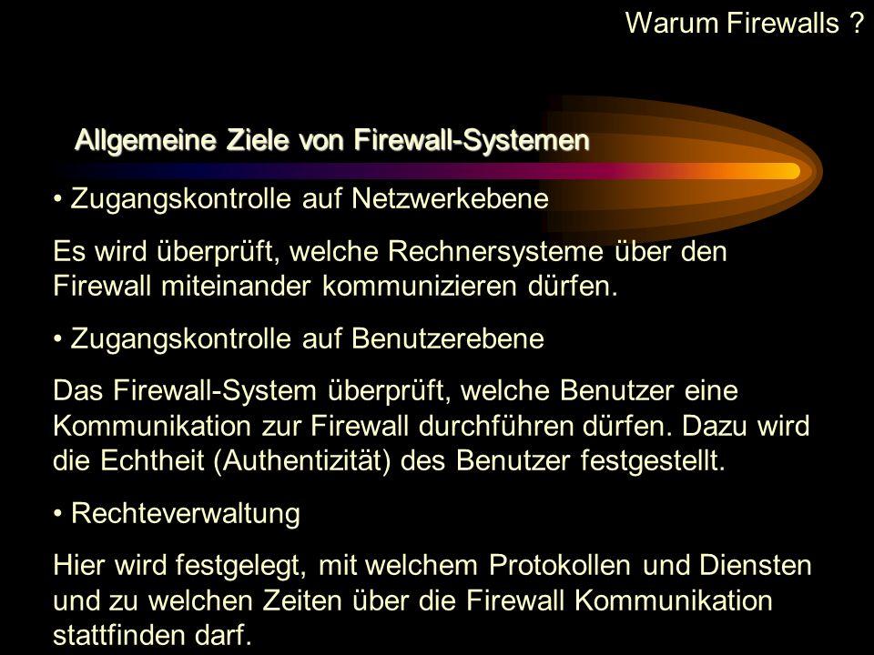 Warum Firewalls Allgemeine Ziele von Firewall-Systemen. Zugangskontrolle auf Netzwerkebene.