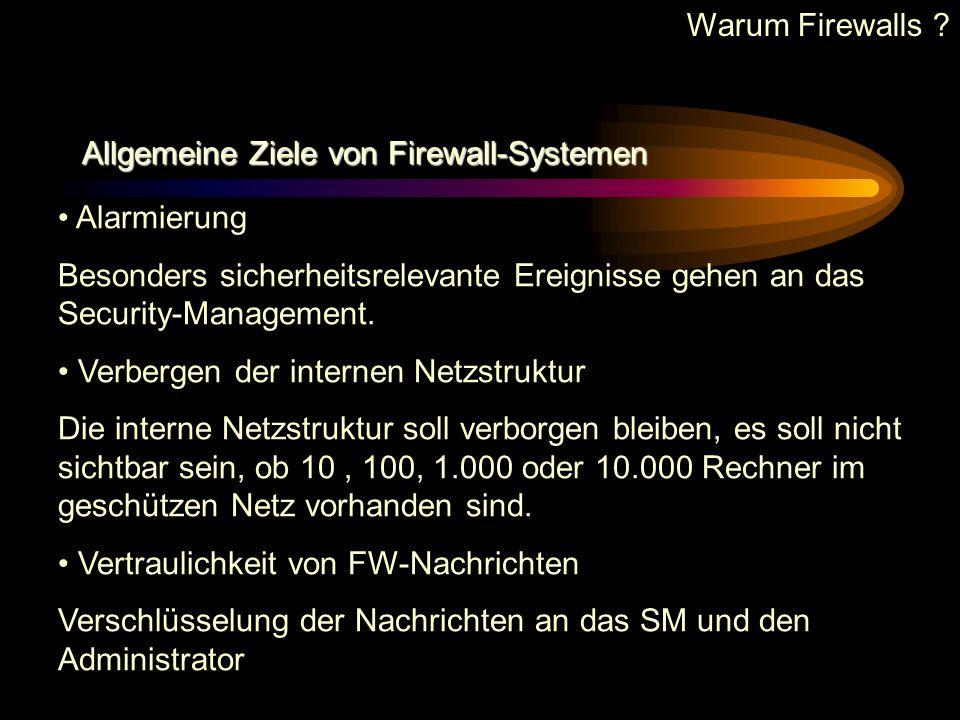 Warum Firewalls Allgemeine Ziele von Firewall-Systemen. Alarmierung. Besonders sicherheitsrelevante Ereignisse gehen an das Security-Management.