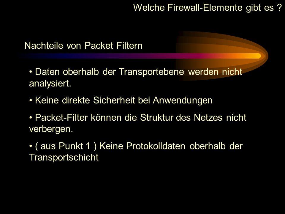 Welche Firewall-Elemente gibt es