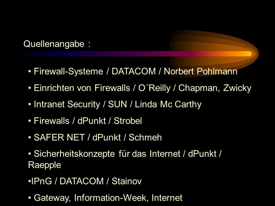 Quellenangabe : Firewall-Systeme / DATACOM / Norbert Pohlmann. Einrichten von Firewalls / O´Reilly / Chapman, Zwicky.
