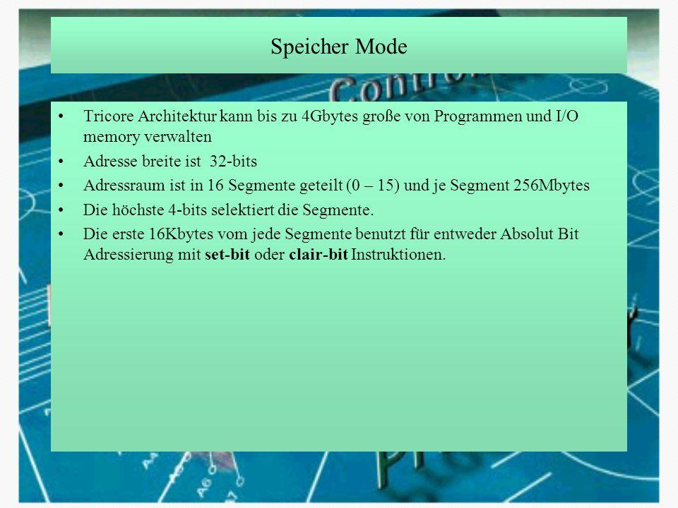 Speicher Mode Tricore Architektur kann bis zu 4Gbytes große von Programmen und I/O memory verwalten.