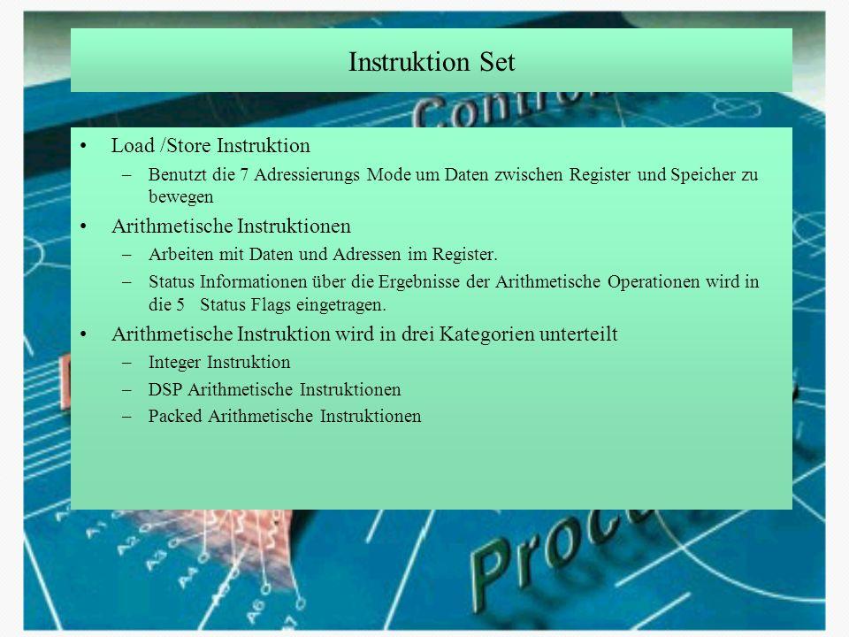 Instruktion Set Load /Store Instruktion Arithmetische Instruktionen