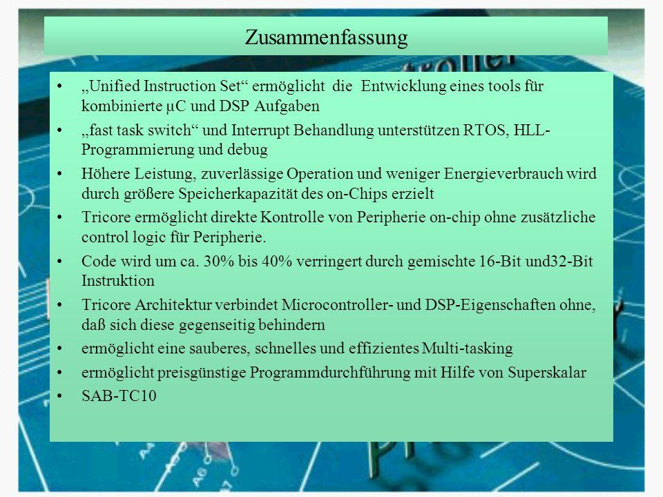"""Zusammenfassung """"Unified Instruction Set ermöglicht die Entwicklung eines tools für kombinierte µC und DSP Aufgaben."""
