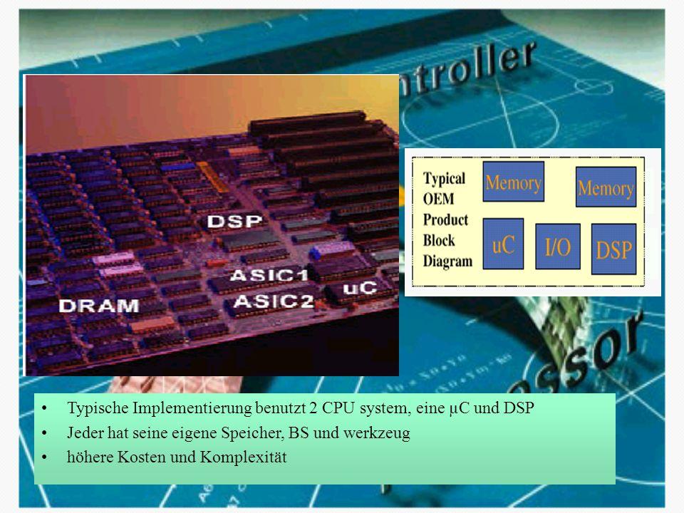 Typische Implementierung benutzt 2 CPU system, eine µC und DSP