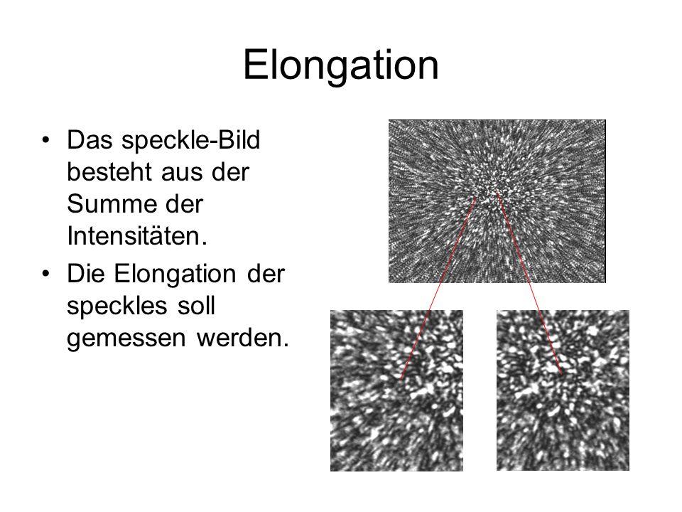 Elongation Das speckle-Bild besteht aus der Summe der Intensitäten.