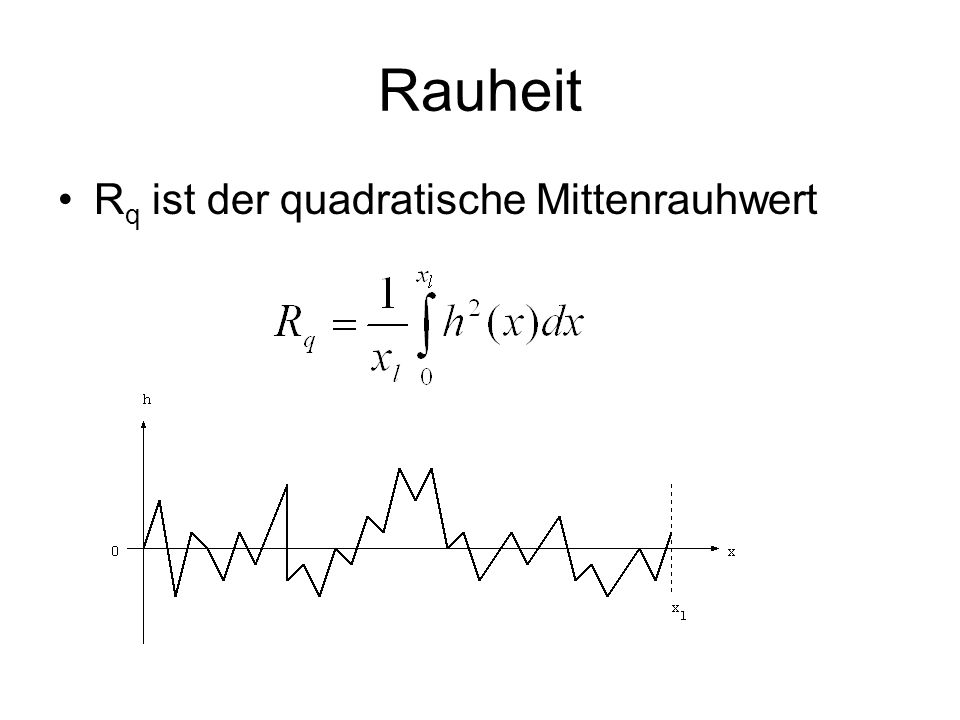 Rauheit Rq ist der quadratische Mittenrauhwert
