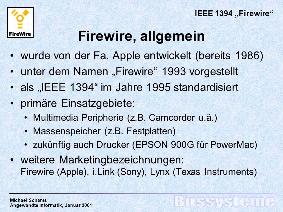 Firewire, allgemein wurde von der Fa. Apple entwickelt (bereits 1986)