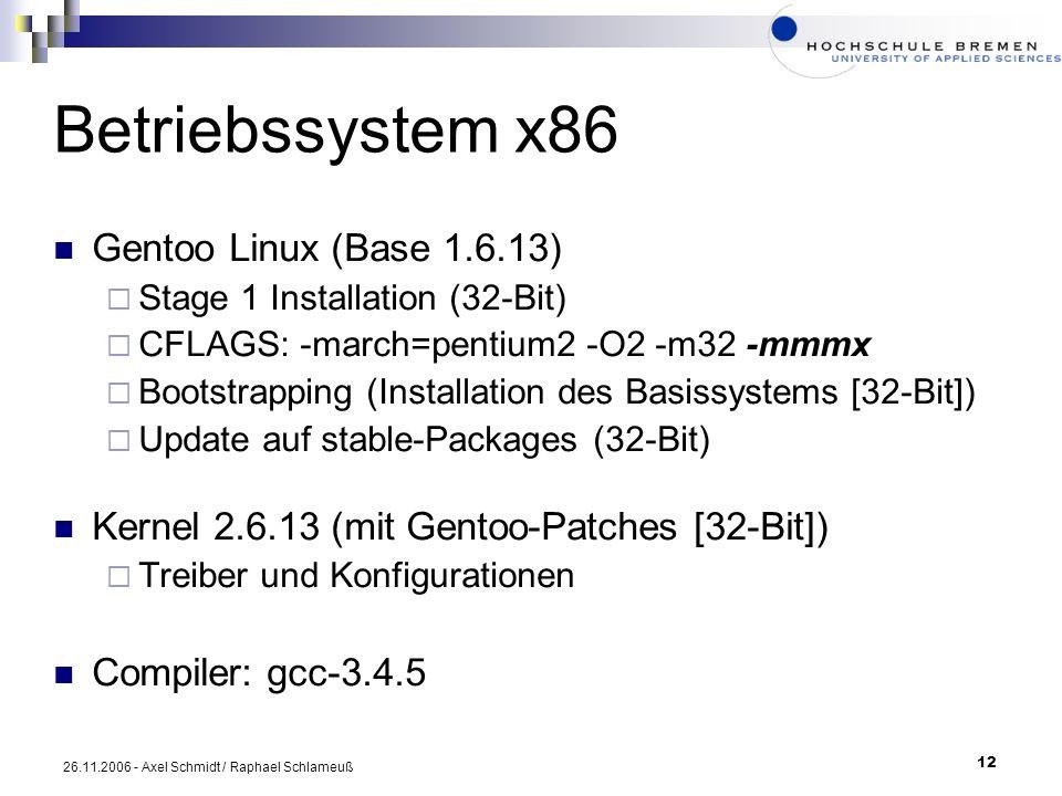 Betriebssystem x86 Gentoo Linux (Base 1.6.13)