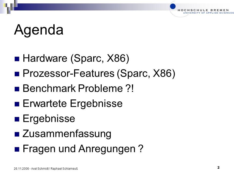Agenda Hardware (Sparc, X86) Prozessor-Features (Sparc, X86)