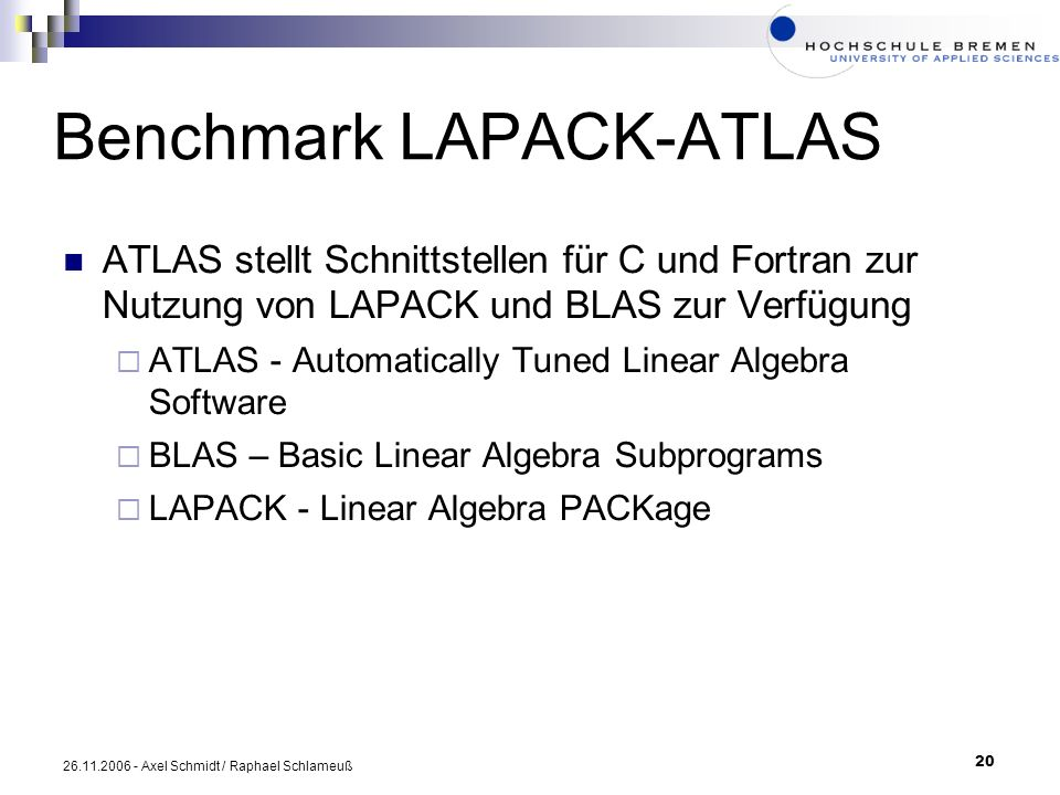 Benchmark LAPACK-ATLAS