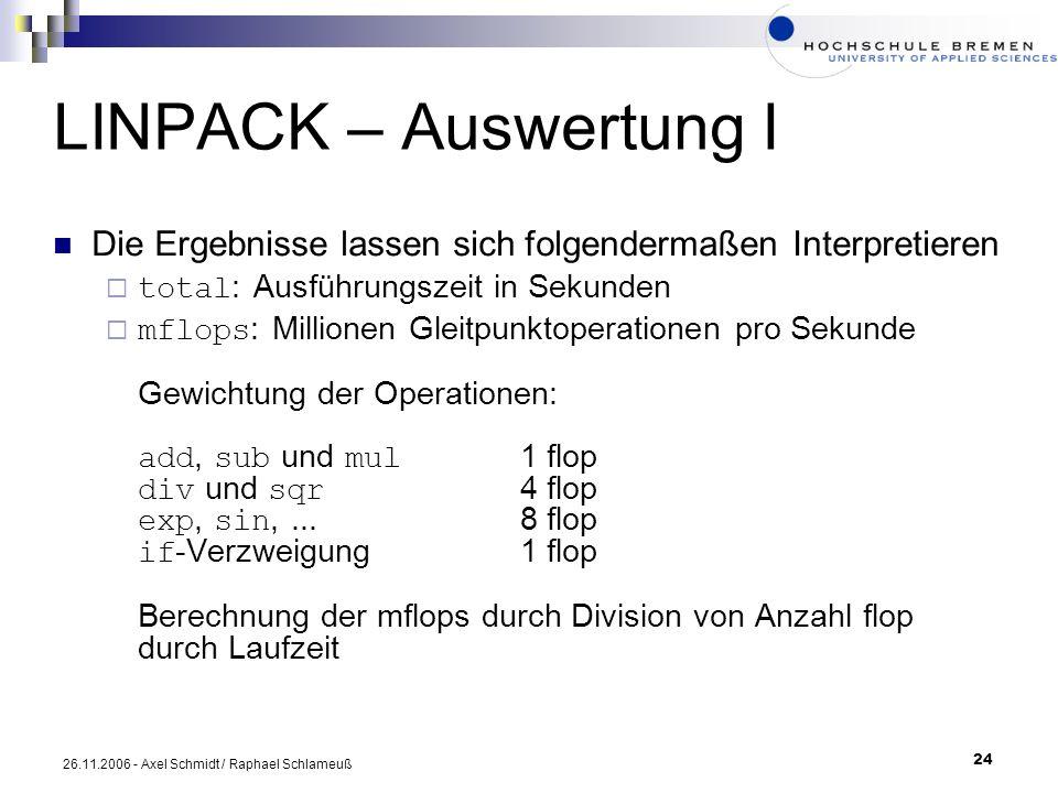 LINPACK – Auswertung I Die Ergebnisse lassen sich folgendermaßen Interpretieren. total: Ausführungszeit in Sekunden.