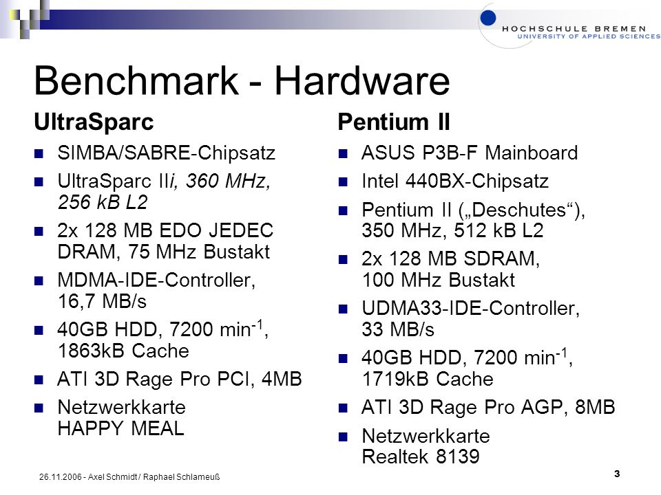 Benchmark - Hardware UltraSparc Pentium II SIMBA/SABRE-Chipsatz