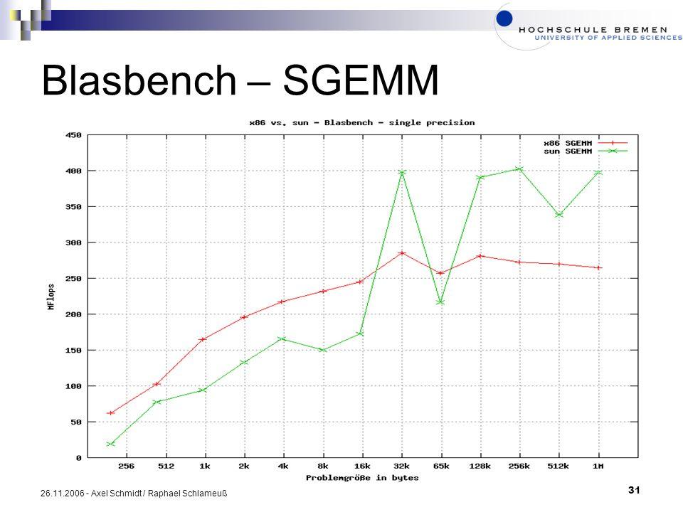 Blasbench – SGEMM 26.11.2006 - Axel Schmidt / Raphael Schlameuß