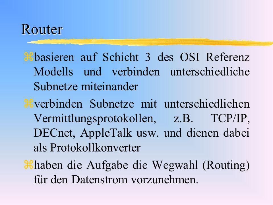Router basieren auf Schicht 3 des OSI Referenz Modells und verbinden unterschiedliche Subnetze miteinander.