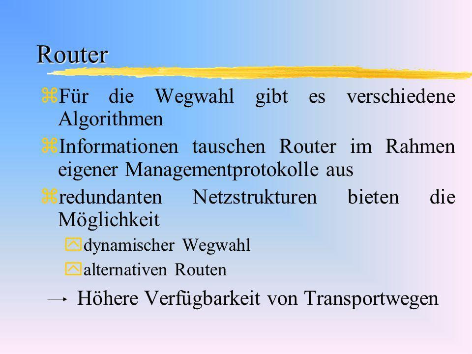Router Für die Wegwahl gibt es verschiedene Algorithmen