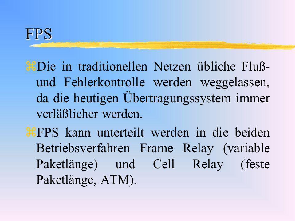 FPS Die in traditionellen Netzen übliche Fluß- und Fehlerkontrolle werden weggelassen, da die heutigen Übertragungssystem immer verläßlicher werden.