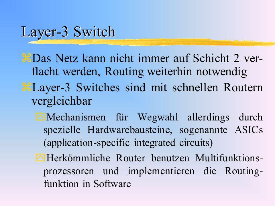 Layer-3 Switch Das Netz kann nicht immer auf Schicht 2 ver-flacht werden, Routing weiterhin notwendig.