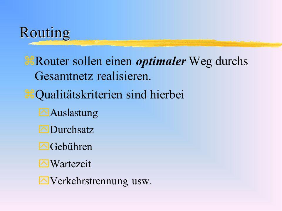 Routing Router sollen einen optimaler Weg durchs Gesamtnetz realisieren. Qualitätskriterien sind hierbei.