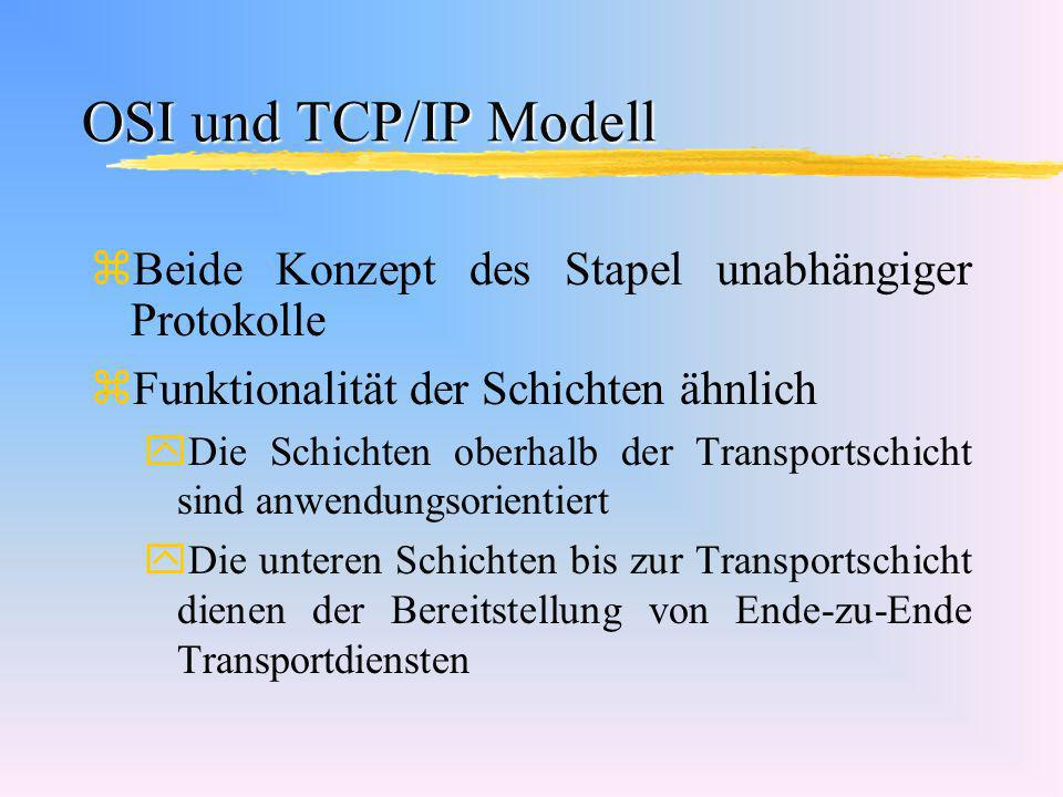 OSI und TCP/IP Modell Beide Konzept des Stapel unabhängiger Protokolle
