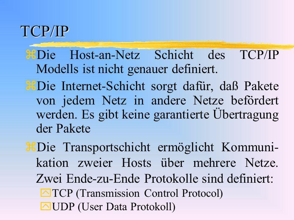 TCP/IP Die Host-an-Netz Schicht des TCP/IP Modells ist nicht genauer definiert.