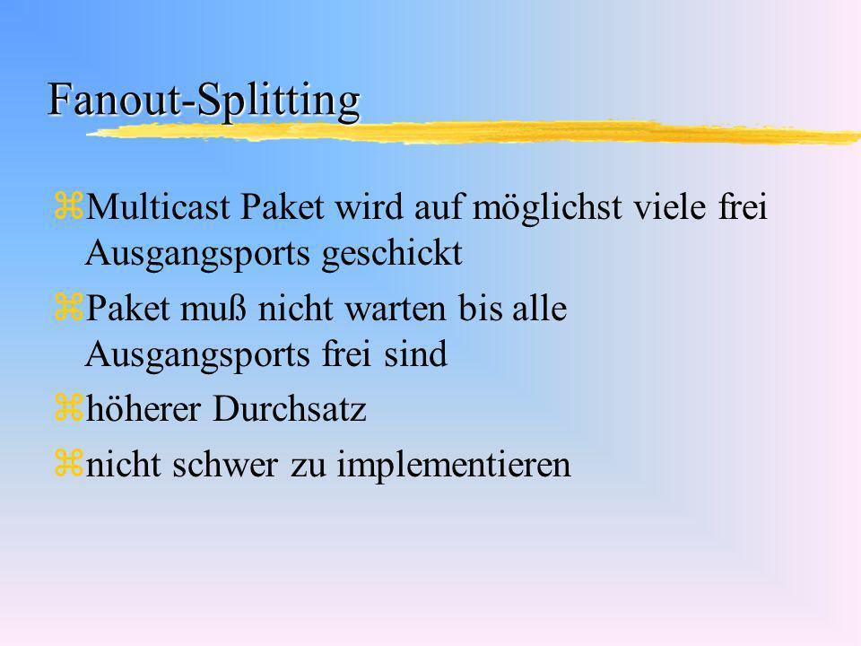 Fanout-Splitting Multicast Paket wird auf möglichst viele frei Ausgangsports geschickt. Paket muß nicht warten bis alle Ausgangsports frei sind.
