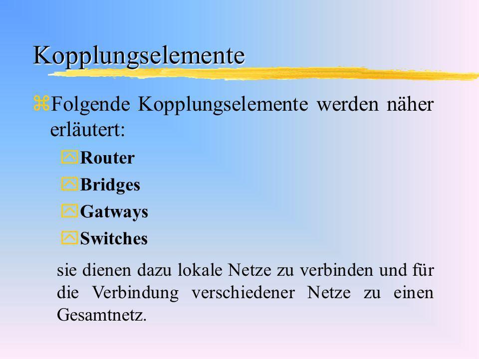 Kopplungselemente Folgende Kopplungselemente werden näher erläutert: