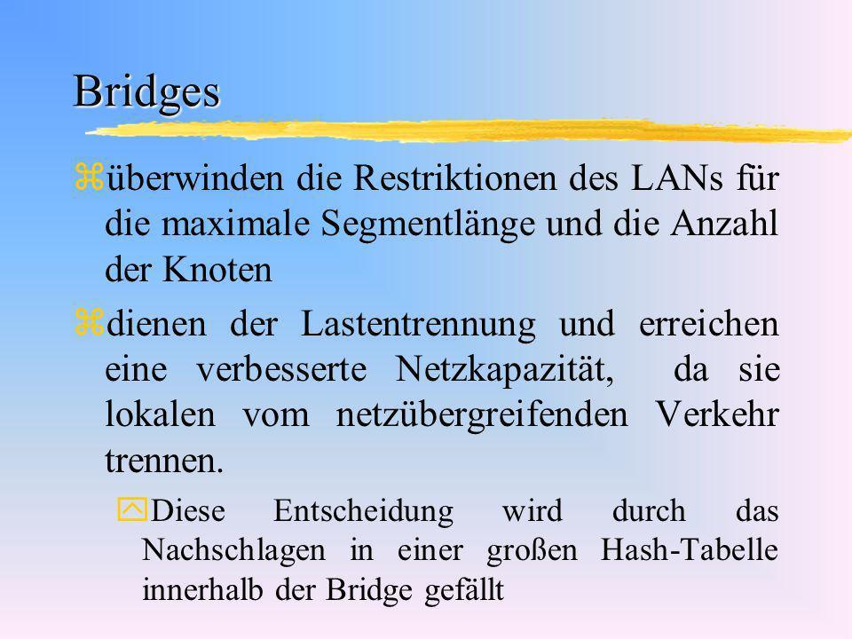 Bridges überwinden die Restriktionen des LANs für die maximale Segmentlänge und die Anzahl der Knoten.
