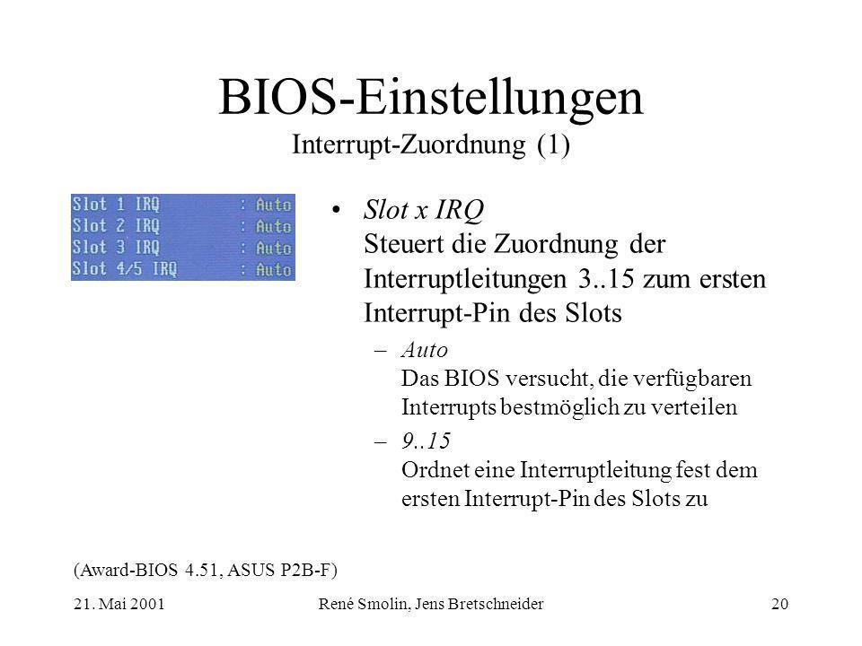 BIOS-Einstellungen Interrupt-Zuordnung (1)