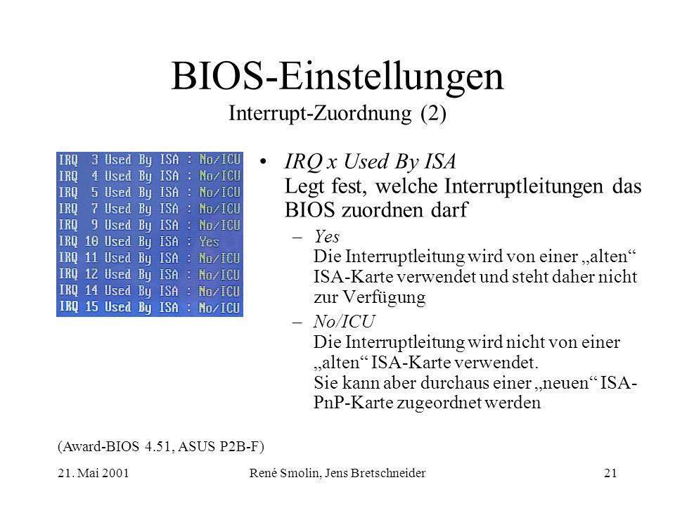 BIOS-Einstellungen Interrupt-Zuordnung (2)