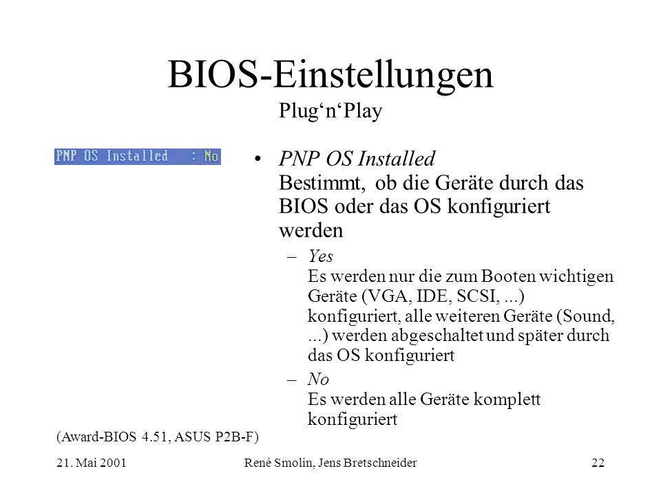 BIOS-Einstellungen Plug'n'Play