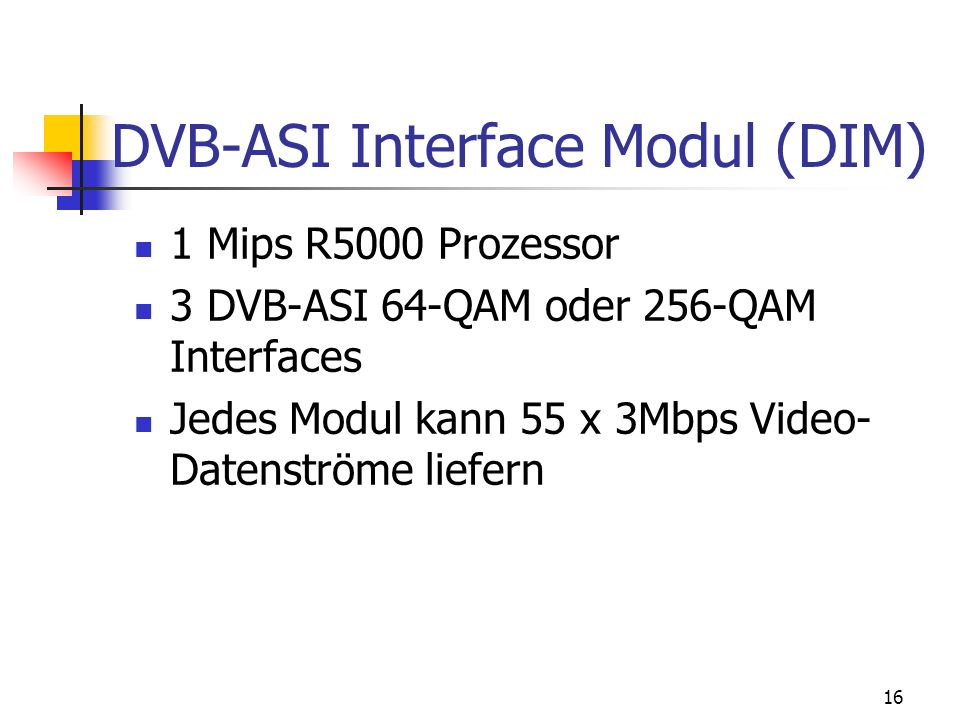 DVB-ASI Interface Modul (DIM)