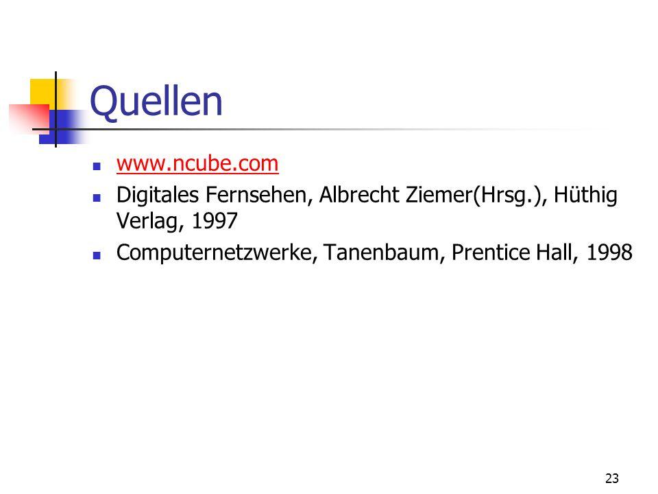 Quellen www.ncube.com. Digitales Fernsehen, Albrecht Ziemer(Hrsg.), Hüthig Verlag, 1997.